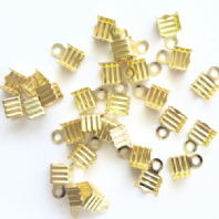 100 Gold plated 6x5mm Folding Crimp Ends